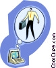 Vector Clipart graphic  of a computer thinking of operator