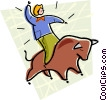 riding bull Vector Clipart illustration