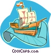 Vector Clipart picture  of a pirate ship