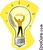 Vector Clipart graphic  of a man inside light bulb
