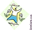 Person dancing with flowers Vector Clip Art picture