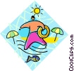 Vector Clip Art graphic  of a Boy going swimming in the
