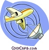 Vector Clip Art image  of a satellite communication with
