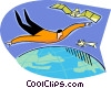 person flying in space Vector Clip Art picture