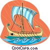 Vector Clip Art graphic  of a Viking ship