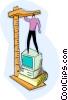 Vector Clip Art graphic  of a person on computer with ruler