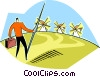 jousting at windmills Vector Clip Art picture