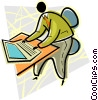 man working at a keyboard Vector Clip Art image