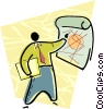 Vector Clip Art graphic  of a man with a chart