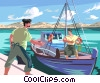 Vector Clipart picture  of a Fishing in Greece