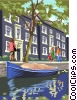 Vector Clipart graphic  of an Amsterdam canal houses