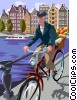 Bicycling in Amsterdam Vector Clip Art image