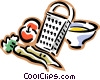 food grater, carrots, apple Vector Clip Art graphic