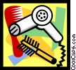 blow dryer, comb, brush Vector Clip Art picture