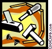 chisel, hammer, nails Vector Clipart image
