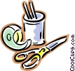 scissors, tape, pencils Vector Clipart illustration