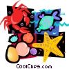 sea life star fish, crab, fish, sea shells Vector Clip Art picture