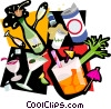 party booze, bottles, wine, glasses Vector Clip Art picture
