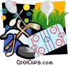 Sports motif, hockey puck, hockey sticks Vector Clip Art picture