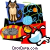 cat motif, cats, yarn, milk Vector Clipart illustration