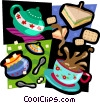 lunch coffee, tea, sugar, sandwiches Vector Clipart illustration