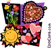 romance motif, hearts, flowers, sun Vector Clip Art graphic
