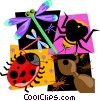 insect lady bug, ant, bee, dragon fly Vector Clipart picture