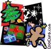 Christmas tree, presents, snow, gingerbread man Vector Clip Art image