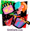 party cake, party, balloons, presents Vector Clip Art graphic