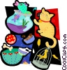 animal motif, cat, fish, bowl Vector Clipart graphic