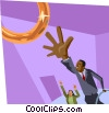 Vector Clipart graphic  of a reaching for the brass ring