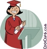 girl receiving diploma Vector Clipart image