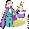 Vector Clip Art picture  of a magician with rabbit