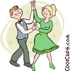 Vector Clipart illustration  of a Couple square dancing