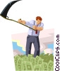 Vector Clip Art picture  of a person harvesting money