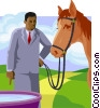 lead a horse to water but can't make him drink Vector Clip Art graphic
