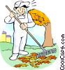 Groundskeeper raking leaves Vector Clip Art picture