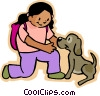 girl playing with dog Vector Clipart illustration