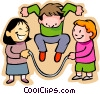 little boy with girls skipping rope Vector Clip Art picture