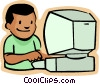 little boy with computer Vector Clipart illustration
