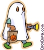Vector Clipart image  of a Little boy in ghost costume