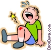 Little boy with scraped knee Vector Clip Art picture