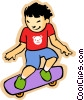 Vector Clip Art graphic  of a little boy with skateboard