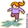 little girl playing hopscotch Vector Clipart picture