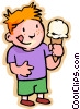 Little boy with an ice cream cone Vector Clip Art picture