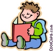 Vector Clipart picture  of a Little boy with his homework