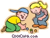 Vector Clipart graphic  of a Little boy and girl with