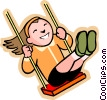 little girl on a swing Vector Clipart illustration