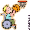 Vector Clipart picture  of a little boy in wheelchair