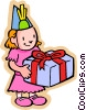 Vector Clipart image  of a Little girl with birthday gift
